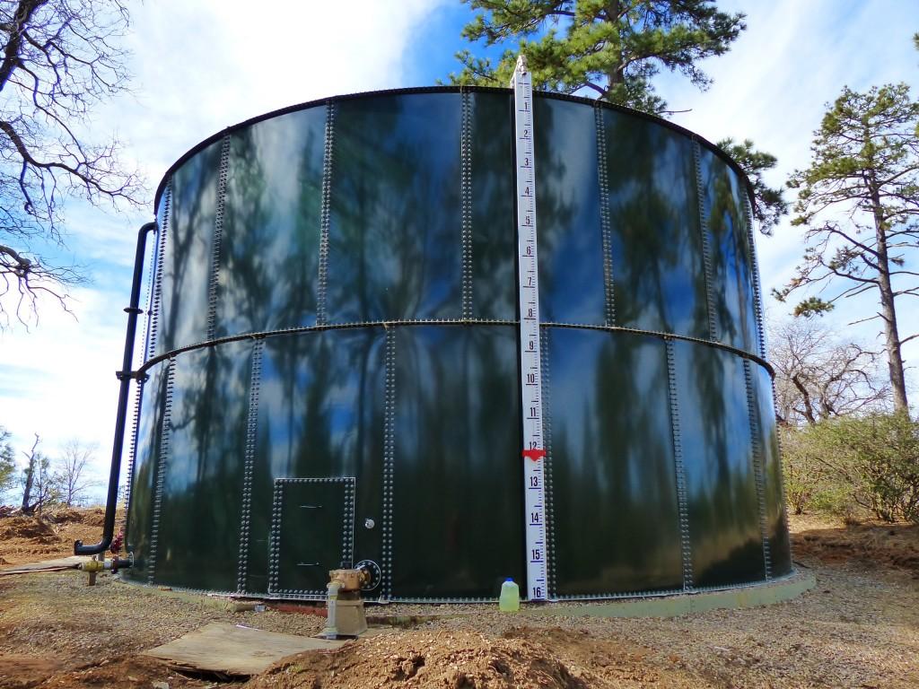 The newly refurbished Los Huecos water tank.